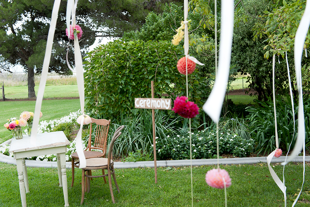 details, beautiful, ceremony, wood, chairs, table, flowers, colorful, simple, pink, apricot, yellow, garden, trees, greenery, outback, decoration, country, wedding, South Australia, photography, bushes, photographer