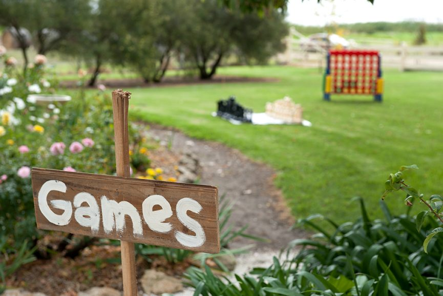 games, wood, sign, chess, country, wedding, beautiful, ceremony, outback, rural, pink, yellow, flowers, garden, trees, greenery, bushes, photographer, grass, lawn, South Australia, photography