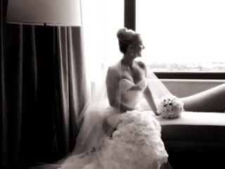bride, sepia, beautiful, lamp, curtain, chair, window, photography, photographer, fishtail wedding, dress, bouquet, flowers, roses, elegant, veil, hair, up-do, Adelaide, Australia