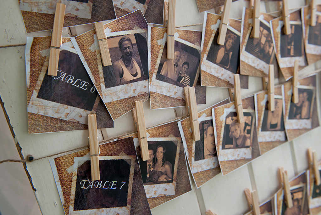 wedding, outback, photographer, sepia, country, rural, South Australia, table, setting, Polaroid, pegs, wooden, hand-made, craft, photography