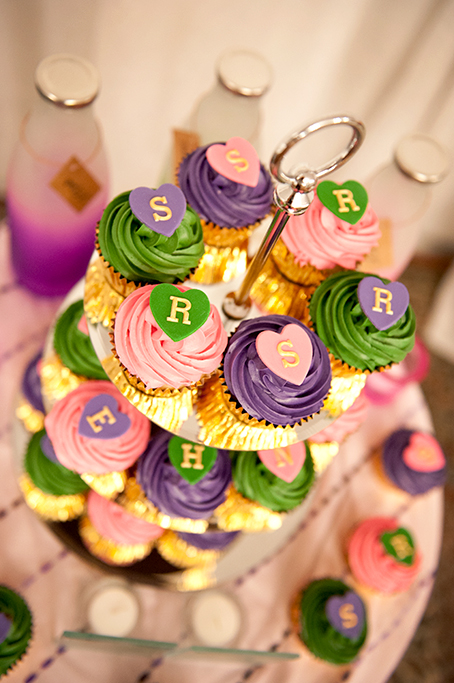Indian, wedding, photography, Adelaide, photographer, south Australia, colorful, cupcakes, gold, love hearts, icing, candles, cake tier, pink, purple, green, beautiful, details