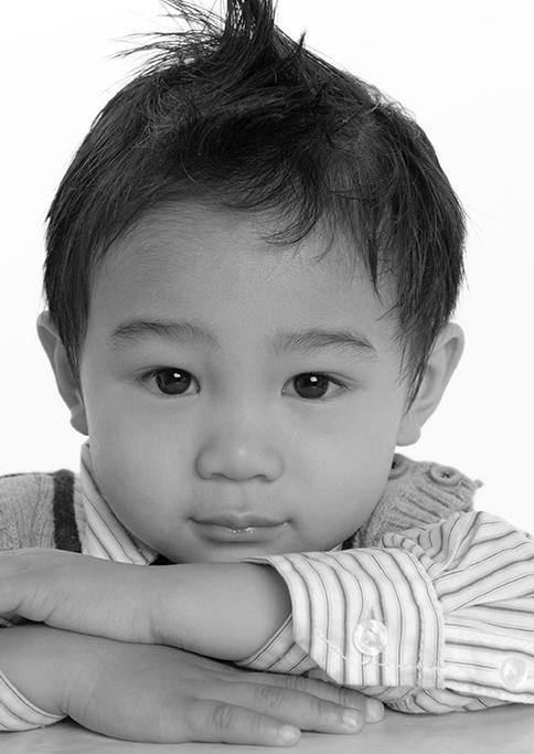 black and white photography, studio, photo session, Adelaide, South Australia, kids, children, white background, pin-stripe shirt