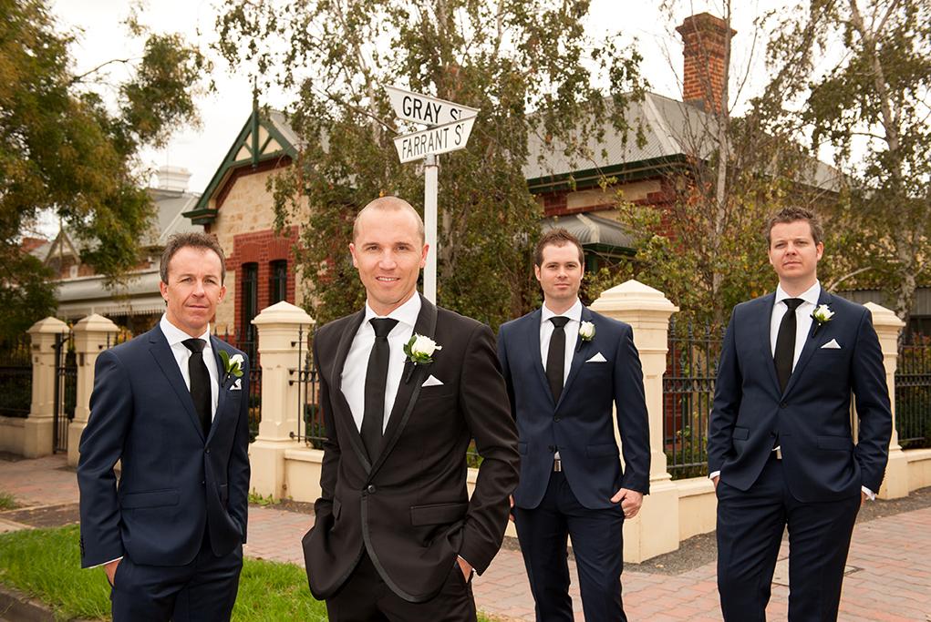Wedding Adelaide suit black groom groomsmen navy blue white rose happy photographer South Australia photography