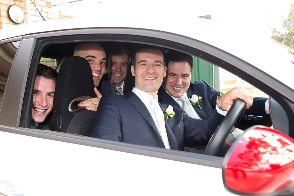 happy, joy, love, groomsmen, Italian, blue suits, white, silver, grey ties, Abarth, Fiat, wedding, rose, flower, photography, Gainsborough Studio, photographer