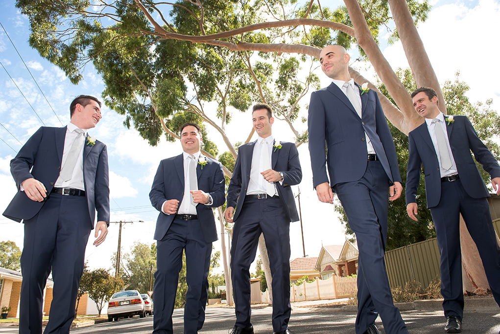 groomsmen, happy, relaxed, candid, photography, Adelaide, South Australia, wedding, Italian, blue suits, flowers, white roses, tie, silver, grey, groom, photographer