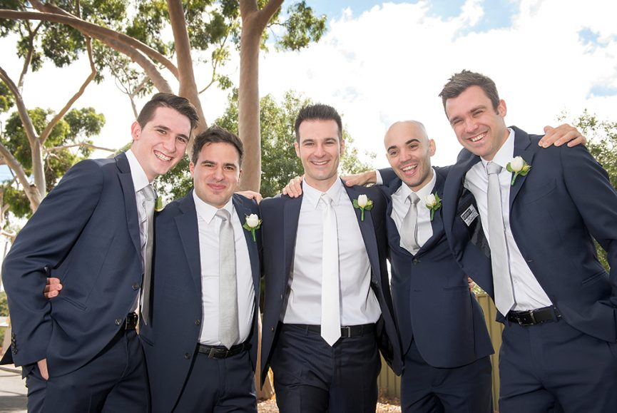 fun, photography, Italian, wedding, happy, blue suits, white roses, flowers, tie, silver, grey, groom, groomsmen, Adelaide, outdoors, South Australia, photographer