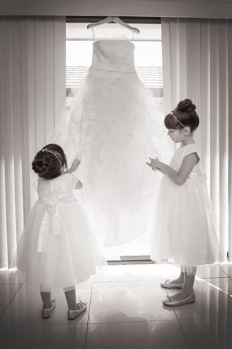 flower girls, wedding, dress, sepia, photographer, photography, Australia, beautiful, ballet shoes, headbands, Adelaide, hair, up-do, bun, cute, moments, girls, kids