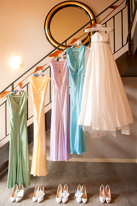 wedding day, rainbow, bridesmaid, dress, wedding, photography, blue, purple, yellow, green, shoes, beautiful, sebel playford, photographer, Adelaide, Australia, mirror, stunning, light, staircase