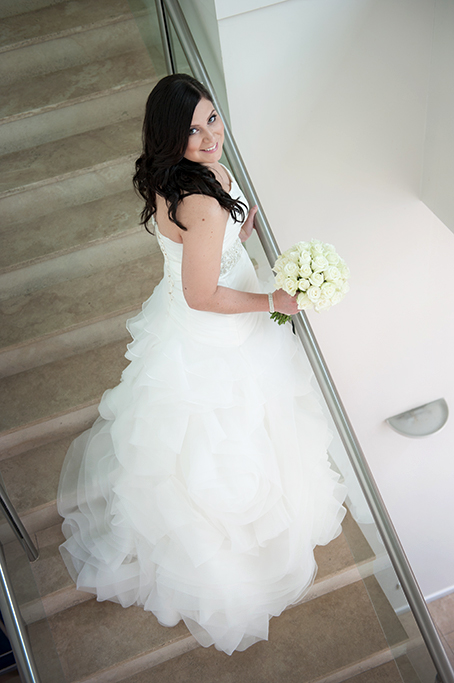 Sferas Convention Centre accommodation happy beautiful bride wedding dress Adelaide white roses bouquet photographer South Australia photography stairs staircase
