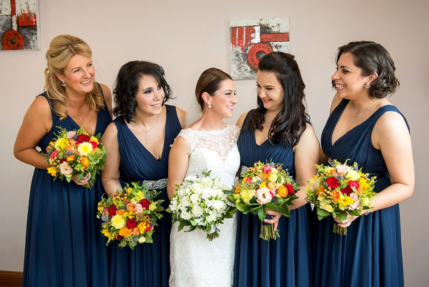 happy laughter dress wedding flowers red yellow pink bouquets blue lace Adelaide necklace photography South Australia Photographer