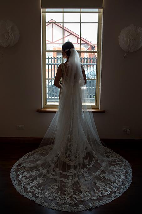 beautiful photography lace full circle window wedding dress veil bride Adelaide photographer South Australia
