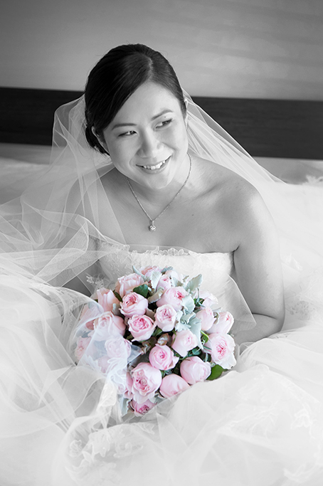 bride, happy, wedding, black and white, photography, pink roses, veil, Australia, beautiful, necklace, Asian, Adelaide, dress, strapless, bedroom, photographer