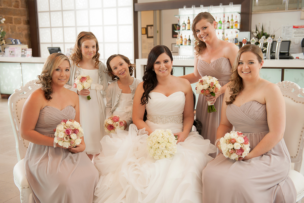 bar alcohol Sferas Convention Centre wedding accommodation flowers white pink roses bouquet happy bridal party bride flower-girl silver sequins Adelaide grey beautiful photographer South Australia photography