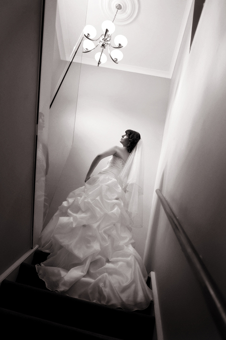 sepia, photography, wedding, stunning, beautiful, dress, pose, stairs, staircase, Adelaide, photographer, light fitting, veil, Australia