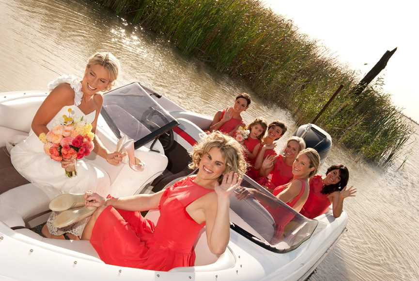 outback, lake, country, South Australia, wedding, ceremony, happy, bride, bridesmaids, photographer, photography, cherry pink, dress, heels, boat, colorful, flowers, bouquet, pink, apricot, orange, yellow, beautiful, scenery, photography, wave, photographer, up-do, hair