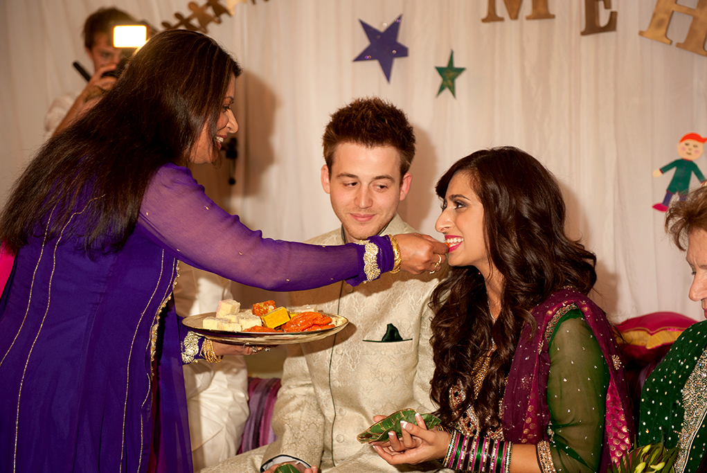 South Australia, bride, groom, happy, love, wedding, Adelaide, Indian, traditional, photographer, embellished, sari, photography, leaf, purple, pink, green, metallic, stars, food