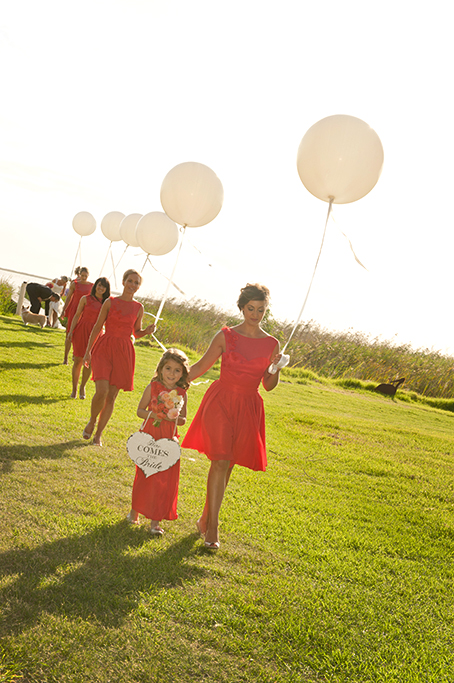 South Australia, outback, swan, white baloons, country, wedding, happy, bridal party, rural, heart, love, here comes the bride, up-do, hair, cherry pink, flower girl, bridesmaids, photography, lake, gorgeous, apricot, yellow flowers, roses, photographer