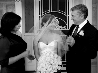 mum, dad, bride, mother, father, black and white, photographer, Adelaide, photography, beautiful, elegant, home, dress, veil, silver, broach, embellishment, strapless, earrings, one-shoulder, suit, black, tie, white, shirt, flowers, rose, roses, bouquet, happy, family, wedding