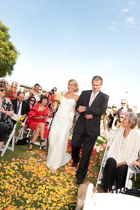 ceremony, happy, bride, guests, family, friends, father, blue sky, beautiful, country, rural, outback, wedding, photographer, outdoor, yellow, pink, apricot, rose petals, gorgeous, setting, dress, love, photography, South Australia, suit, tie, sunglasses