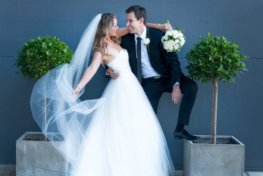 National Wine Centre Adelaide, Australia, happy, love, couple, newlyweds, wedding, groom, pot plant, tree, leaves, green, bride, photography, dress, veil, bouquet, roses, blue, wall, belt, photographer, Australia, white, flowers, suit, tie, white, shirt, black, shoes