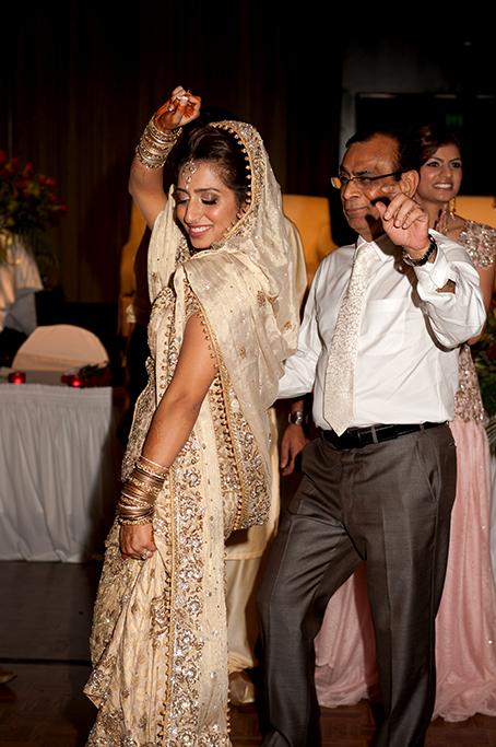 dancing, reception, Adelaide, dance, bride, happy, love, family, Hilton, South Australia, traditional, Indian, embellished, sari, dress, photographer, white, photography, tie, headpiece, gold, silver, henna, bangles