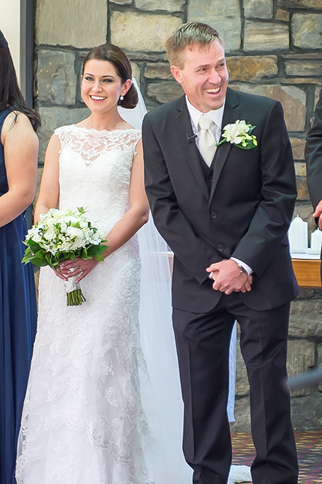 Adelaide bride wedding groom photographer happy excited church South Australia lace dress flowers bouquet suit