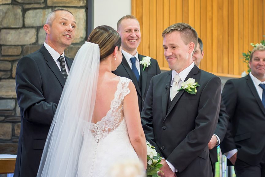 Adelaide wedding church photography happy bridal party ceremony bride lace dress groom suit photographer flowers