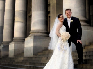 Adelaide, city, Australia, photography, dress, lace, beautiful, stairs, pillars, staircase, veil, suit, groom, wedding, bride, rose, white, black, roses, bouquet, tie, pants, jacket, shoes, strapless, smile, happy, love, photographer