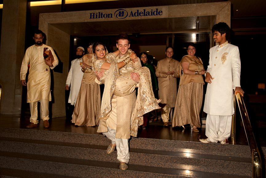 Hilton, Adelaide, reception, wedding, South Australia, love, happiness, bridal party, Indian, tradition, photography, gold, embellishments, silver, sari, headpiece, bangles, henna, photographer, earrings, necklace, bride, groom