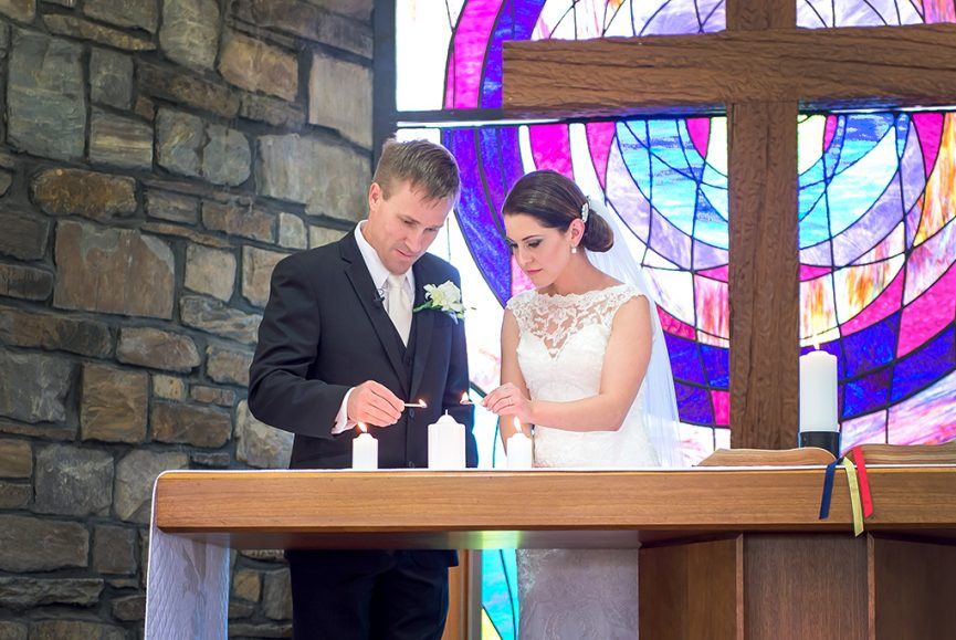 symbolic church candles photographer bride ceremony wedding groom flowers lace Adelaide colorful photography