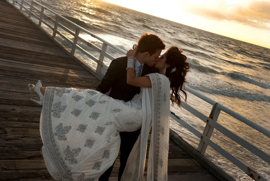 sunset, beach, Adelaide, South Australia, jetty, sky, love, sari, traditional, Indian, wedding, bride, groom, dress, suit, photography, bangles, heels, embellished, photographer