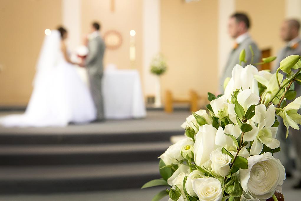 Bride Groom groomsmen photography church wedding ceremony Adelaide Australia alter white roses bouquet candles photographer