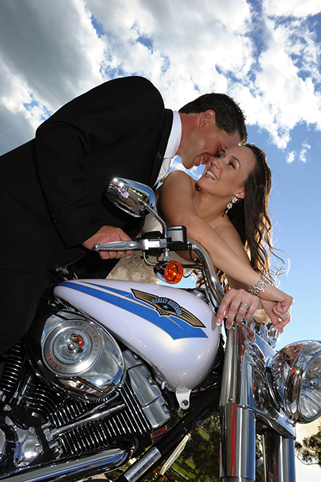 sky, clouds, nature, blue, motorbike, Harley Davidson, mirrors, lights groom, tie, shirt, black, suit, dress, ring, silver, bride, bracelet, earrings, Adelaide, photography, happy, love, photographer, wedding, embellished, Australia