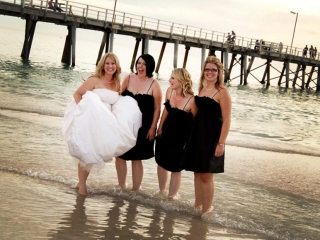 wedding, beautiful, soft, pastel, clouds, sunset, bride, dress, water, beach, Henley, ocean, pink, bridesmaids, photography, black, silver, necklace, bracelet, photographer, jetty, light posts, Adelaide, fun, Australia, happy