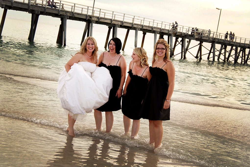 wedding, beautiful, soft, pastel, clouds, sunset, bride, dress, water, beach, Henley, ocean, pink, bridesmaids, photography, black, silver, necklace, bracelet, photographer, jetty, light posts, Adelaide, fun, Australia, happy