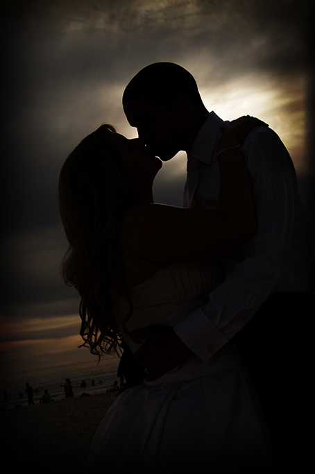 silhouette, beautiful, beach, moments, evening, sky, clouds, night, suit, Australia, dress, kiss, bride, wedding, photographer, groom, shirt, vest, tie, romantic, sand, Adelaide, photography