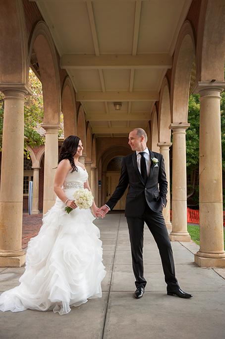 Adelaide University South Australia wedding dress silver sequins black suit bride groom love happy white roses bouquet arch photographer photography