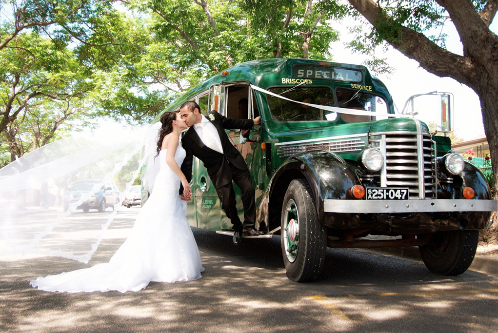 old, style, royal, green, bus, happy, groom, newlyweds, love, photographer, bride, dress, holding hands, flower, rose, white, tie, shirt, Australia, shoes, black, pants, jacket, suit, veil, Adelaide, road, street, special, service, trees, happy, wedding, photography