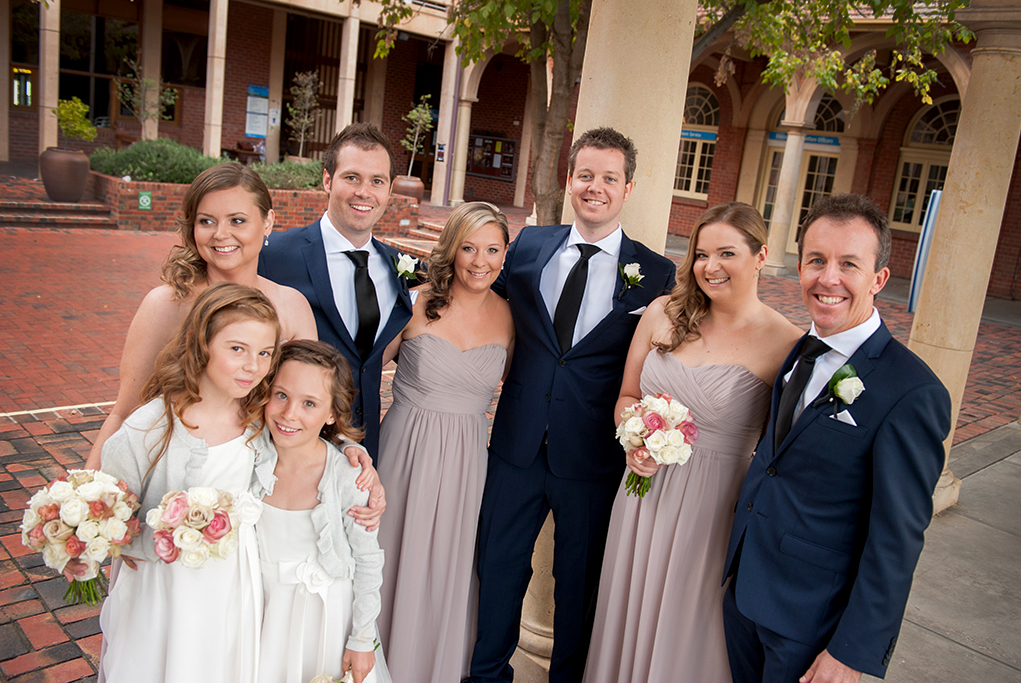 bridal party bridesmaids flower-girls groomsmen silver grey photographer pastel roses bouquet wedding navy blue suits white happy Adelaide photography university South Australia