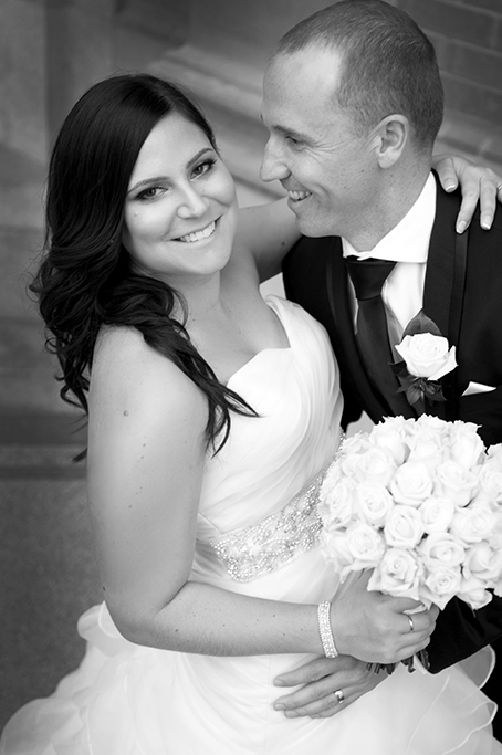 black and white photography happy love couple newlyweds bride groom white wedding dress silver sequins accessories roses bouquet black suit Adelaide photographer South Australia