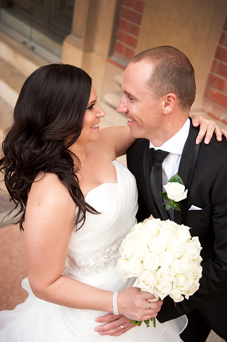Bride groom happy newlyweds couple wedding photographer white strapless dress silver sequins accessories black suit roses bouquet love photography Adelaide