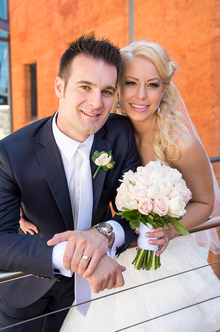 newlyweds, happy, love, roses, pastel, bouquet, flowers, pinstripe, blue suit, white tie, dress, Italian, groom, Bride, ring, watch, Wine Centre, Adelaide, South Australia, photography, photographer