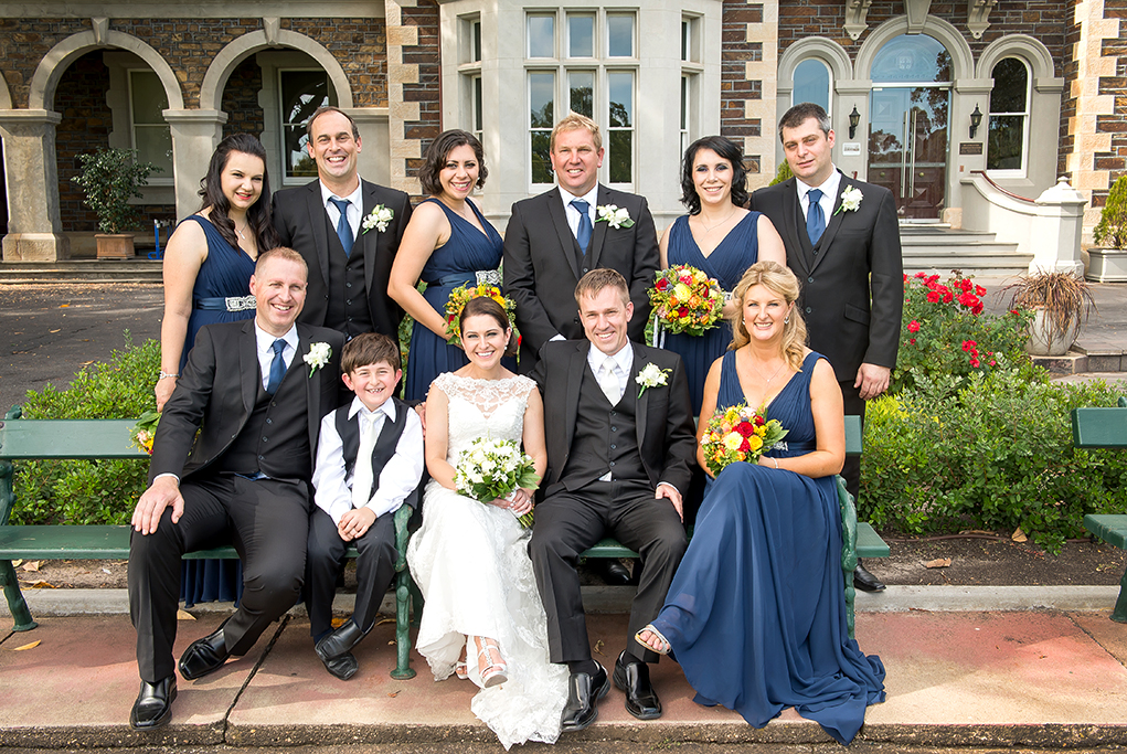 bridal party happy bride Paige-boy groom bridesmaids groomsmen Adelaide photographer flowers colorful photography lace wedding suit dress red pink yellow roses blue