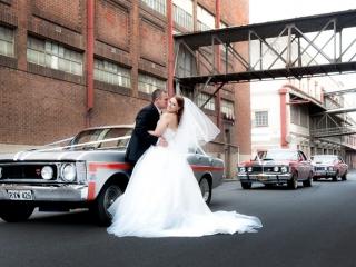 bride, port Adelaide, Australia, GT Mustang, cars, wedding, groom, old, factory, bricks, road, side-street, love, happy, veil, dress, white, suit, tie, shirt, black, kiss, photography, earrings, photographer