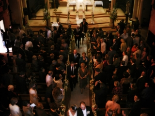 The Monastery, Adelaide, Australia, beautiful, wedding, church, ceremony, guests, family, friends, roses, bouquet, gorgeous, alter, church, arch, architecture, pillars, stairs, lights, candles, bride, dress, headband, head-piece, suit, black, flower, tie, photography, European, Italian, photographer