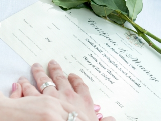 hands, wedding, roses, pink, Australia, beautiful, ring, silver, white gold, certificate of marriage, church, ceremony, Adelaide, bride, photography, pen, photographer