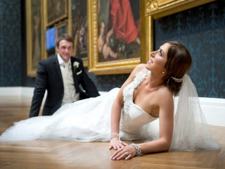 Art Gallery, gold frames, beautiful, wall portraits, paint, groom, happy, stunning, dress, embellished, one-shoulder, veil, hairclip, bride, earrings, bracelet, ring, acrylic nails, white, vest, tie, rose, suit, jacket, beads, groom, floorboards, Australia, photography, Adelaide, photographer, wedding