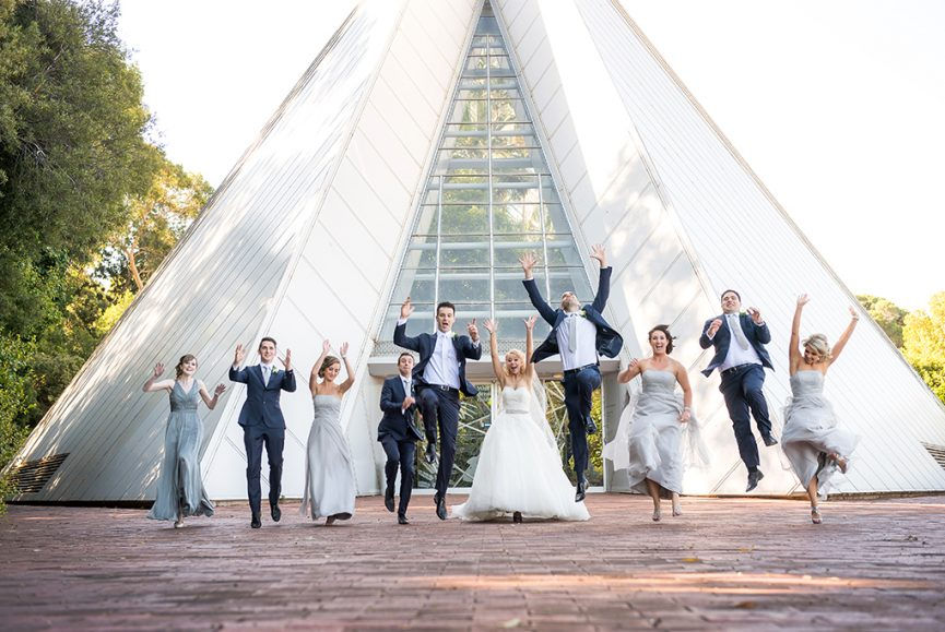 bridal party, wedding, Botanic Gardens, Adelaide, South Australia, happy, love, Italian, photographer, photography, dress, silver, white gold, accessories, blue suits, white tie, Gainsborough Studio