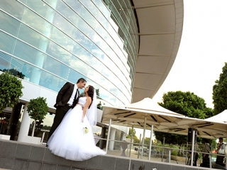 Adelaide Convention Centre, Australia, groom, River Torrens, beautiful, love, happiness, wedding, bushes, trees, architecture, bride, city, photographer, lawn, grass, suit, tie, pants, shirt, dress, flowers, roses, photography