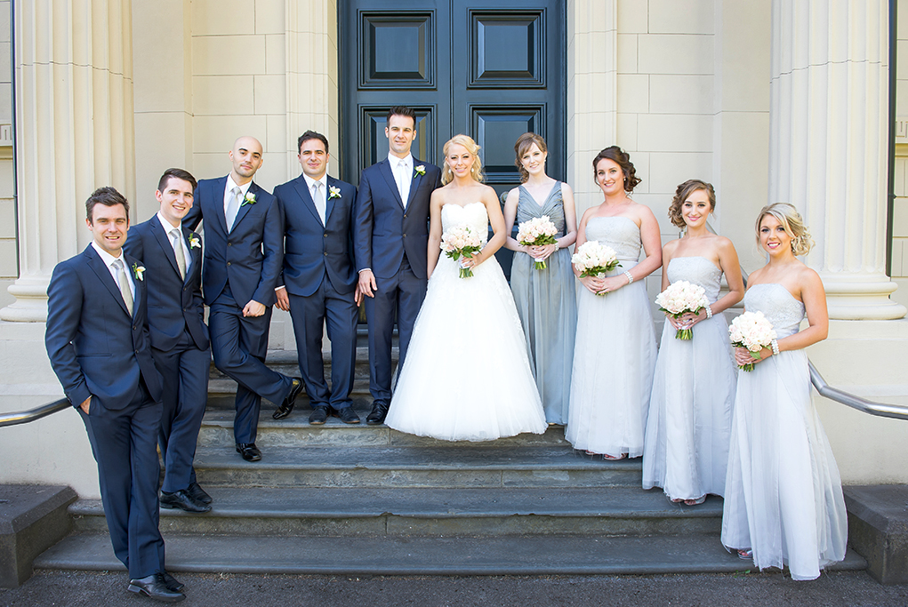 bridal party, Italian, wedding, symmetry, Adelaide, city, happy, bride, groom, photography, South Australia, photographer, blue suits, grey, white tie, dress, bouquet, pastel, flowers, roses, grey, silver, strapless, white gold, accessories, Gainsborough Studio